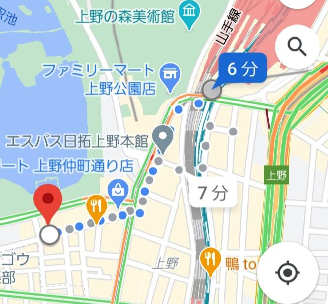 上野駅から上野キャバクラ「蓮〜れん〜」への経路